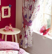 "Lined Curtains Pencil Pleat Style - Pink & Purple Unicorns Design (66 x 72"""