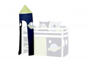 Hoppekids Space Tower for Half-High Bed including Frame, Fabric, Blue
