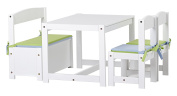 Hoppekids Mathilde Children's Table/Chairs and Bench Set including Blue Cushions, Wood, White