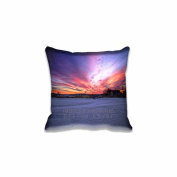 Square 46cm x 46cm Zippered Winter Sunrise Pillowcases Digital Print Adults Kids Cushion Covers