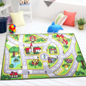 Ustide Kids Rug Non-skid Washable Kids Play Mat City Roads Street Map Children Learning Carpet Kids Play Rugs for Boys and Girls Nursery Bedroom Playroom Carpet