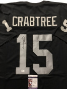 Autographed/Signed Michael Crabtree Oakland Raiders Black Football Jersey JSA COA