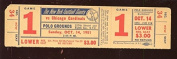 October 14 1951 NFL Football Chicago Cardinals at New York Giants Full Ticket
