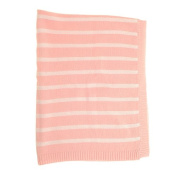 Zippy Baby Reversible Blanket in Pink and White stripes for Nursery Cot and Pram, 100% combed cotton knitted, Perfect Gift
