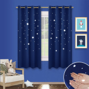 Twinkle Star Cutout Blackout Curtains - PONY DANCE Childishness Top Eyelet Blackout Cut Out Star Curtains / Drapes for Nursery Kids Bedroom, Set of 2 Pieces, W 120cm X L 140cm per Panel, Navy Blue