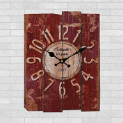ZHONG 1PC European style Office Bracket Clock The Bedroom The Clock Restore Ancient Ways Do Old Solid Wood Wall Clock , red