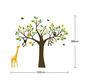 Jungle Zoo Forest giraffe, monkey and owls tree wall decal for nursery