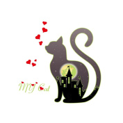 Winhappyhome Cat Wall Art Stickers for Bedroom Living Room Coffee Shop Background Removable Decor Decals
