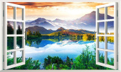 XMJR The natural scenery TV background wall decoration painting stickers stickers false windows without leaving adhesive specifications 54*90cm