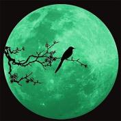 DESY 1Pcs 34Cm*34Cm Romantic Luminous Moon Wall Stickers Novel Fluorescent Lighting Wall Poster Decoration Gift