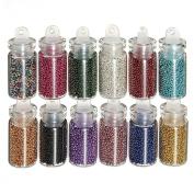 RuiChy 12pcs Mini Bottles Nail Art Tips Caviar Beads Balls Glitter Manicure Decoration