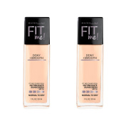 Maybelline New York Fit Me Dewy and Smooth Foundation, Classic Ivory, 2 Count,