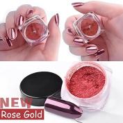 Greencolourful Nail Mirror Powder Nails Glitter Chrome Powder Nail Art Manicure Decoration Beauty Tools 2 g/ Box , Rose Gold