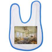Bedroom, Architectural, Interior baby bib in blue