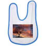 Dramatic Sky, Clouds, Tree, Silhouette baby bib in blue