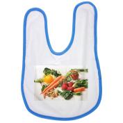 Carrot, Kale, Walnuts, Tomatoes baby bib in blue