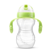 Children Anti-skid Handle Gourd Type Leakproof PP Soft Mouth Straw Drinking Cup 10 Ounces,B-300ml