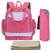 S-ZONE Multi-function Waterproof Baby Nappy Backpack Nappy Bag Travel Backpack with Changing Pad & Stroller Straps & Insulated Pocket