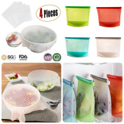 Tiannuofa Set of 4 Silicone Reusable Food bags and Silicone Stretch Lids Kit For Environmental Kitchen Tools,Superior for Keeping Food Fresh, Dishwasher and Freezer Safe