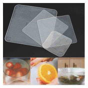 Comfysail 4pcs Reusable Silicone Wraps Seal Cover Stretch Food Fresh Cling Film Keep Kitchen Tools Transparent