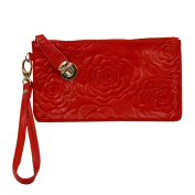 AiSi Women's Soft Leather Wristlets Wallet Rose Pattern Cow Leather Purse Clutch with Buckle Lock-Red
