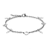 "Heart and Cross Link Chain Charm Finest Quality Stainless Steel Anklet 9.25"" ( 235mm ) Chain Bracelet"