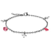 "Pink Crystal Dangle Charm and Cross Link Chain Charm Finest Quality Stainless Steel Anklet 9.25"" ( 235mm ) Chain Bracelet"