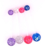 Blue Pink Clear Purple Pregnancy Maternity Belly Navel Bar Flexible Glitter choose a colour or Set of 3 or 4