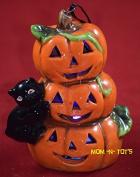 Halloween Porcelain LED Pumpkin Stack with Black Cat Figurine