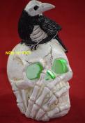 Halloween LED Skeleton Head with Raven Figurine