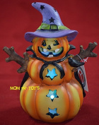 Halloween LED Pumpkin With Purple Witch Hat Figurine