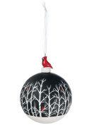 Sullivans - 10cm Christmas Tree Ball Ornament with a Sparkly Snowy Bottom, Trees with Red Cardinals and Topped with a Red Cardinal and a White Ribbon