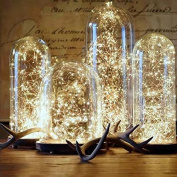 Pack of 6 LED Moon Lights Fairy Lights 20 Micro Starry LEDs on Copper Extra Thin Gold Wire, 2 x CR2032 Batteries Required and Included, DIY Wedding Centrepiece or Table Decorations