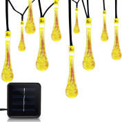 ALUVEE Solar Outdoor String Lights, 6m 30 LED Water Drop Fairy String Lighting for Indoor/Outdoor Home, Patio, Lawn, Garden, Party, Wedding, Christmas, and Holiday Decorations