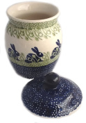Polish Pottery Multi-Use Lidded Canister/Treat Jar/Bath Accent in the Charming Pattern P324 or Bunny Rabbit