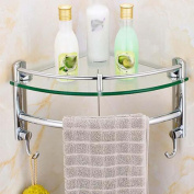 GOUGOU Single-layer triangular rack / bathroom corner rack / hooked glass tripod / bathroom pendant