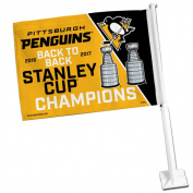 Pittsburgh Penguins 2017 NHL Stanley Cup Champions Car and NHL Auto Flag