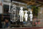 25cm Fun Stick Family Star Wars Jedi Wader Vinyl Stickers Funny Decals Bumper Car Auto Computer Laptop Wall Window Glass Skateboard Snowboard