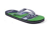 Happy Feet Mens and Womens Seattle Seahawks Big Logo Flip Flops - Medium