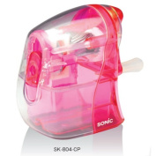 Sonic manual operation pencil sharpener half skeleton clear pink SK-804-CP to cut