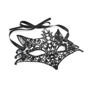 Black Lace Effect Fox Design Ribbon Face Mask Masquerade Ball Fancy Dress Party