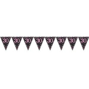 Pink Celebration 30th Prismatic Pennant Banner 4m Birthday Party Decorations Sup