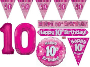 Pink Age 10 Girls Happy 10th Birthday Banner Balloons Decorations