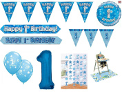 Blue . Boys Happy 1st Birthday Banner Balloons Confetti Decorations