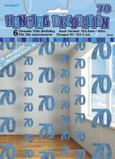 6 X 70th Blue Birthday Party Hanging String Decorations Foil Metallic Milestone
