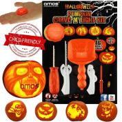 Halloween Pumpkin Carving Kit 16 Designs + 5 Tools + Led Light New