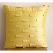 Designer Yellow Shams, Textured Pintucks Pillow Shams, 60cm x 60cm Pillow Shams, Square Silk Pillow Shams, Modern Pillow Shams - Yellow Ocean