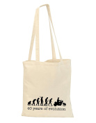 40th MOTORBIKE Mans Evolution shopping reusable bag tote - BIRTHDAY AGE present gift funny