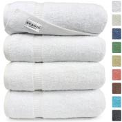 SALBAKOS Luxury Hotel & Spa Turkish Cotton 4-Piece Eco-Friendly Bath Towel Set 70cm x 140cm , White