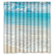 170cm x 180cm Beach Theme Waterproof Polyester Fabric Bathroom Shower Curtain with 13 Hooks